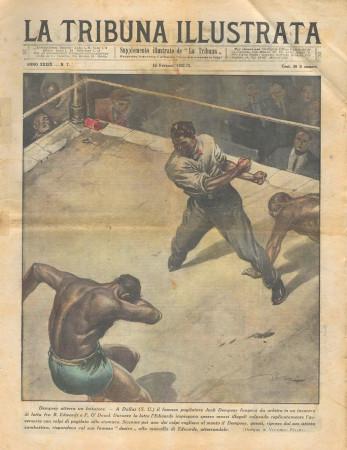 """1931 * Rivista Storica Originale """"La Tribuna Illustrata (N°7) - Dempsey Atterra Un Lottatore"""""""