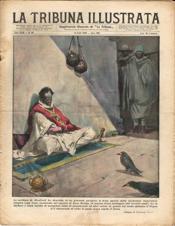 """1935 * Rivista Storica Originale """"La Tribuna Illustrata (N°28) - Agonia Imperatore Etiopico Ligg Yasu"""""""