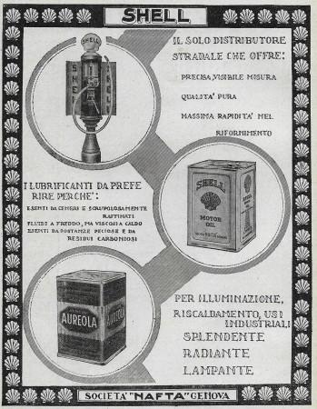 """1928 * Pubblicità Originale """"Shell - Per Illuminazione, Riscaldamento..."""" in Passepartout"""