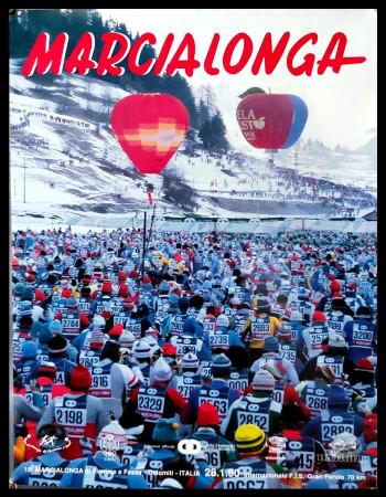 """1990 * Manifesto Poster Originale """"18° Marcialonga di Fiemme e Fassa, Dolomiti - Sci Gran Fondo"""" Italia (B+)"""