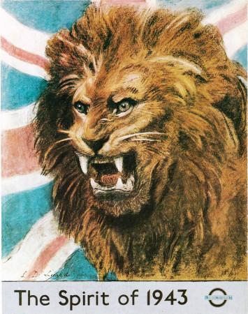 """ND (WWII) * Propaganda di Guerra Riproduzione """"Gran Bretagna - Lo Spirito Del 1943"""" in Passepartout"""