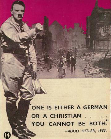 """ND (WWII) * Propaganda di Guerra Riproduzione """"Gran Bretagna - Si Può Essere Tedesco Oppure Cristiano"""" in Passepartout"""
