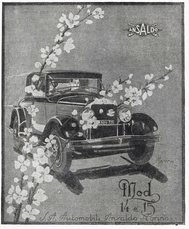 """1929 * Pubblicità Originale """"Ansaldo - Mod 14 e 15"""" in Passepartout"""