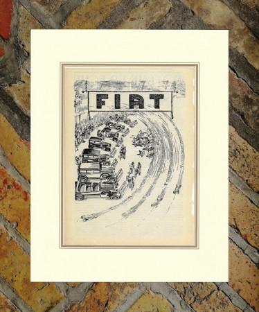 """1928 * Pubblicità Originale """"Fiat - Gamma Auto"""" in Passepartout"""