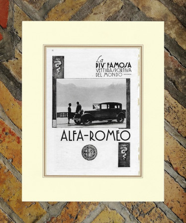 """1930 * Pubblicità Originale """"Alfa Romeo - La Piu' Famosa Vettura"""" in Passepartout"""