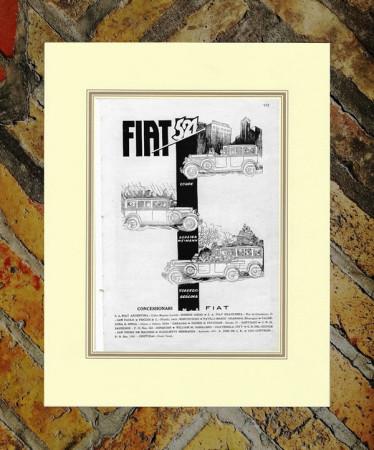 "1929 * Pubblicità Originale ""Fiat - Mod 521"" in Passepartout"