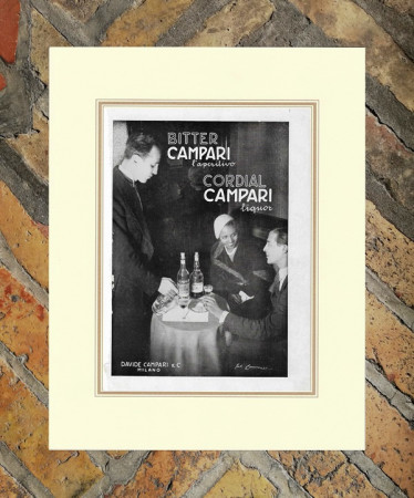 """1933 * Pubblicità Originale """"Campari Cordial –  Foto CAMUZZI"""" in Passepartout"""