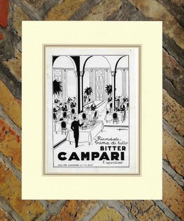 """1929 * Pubblicità Originale """"Campari Bitter –  ORSI ITALO"""" in Passepartout"""