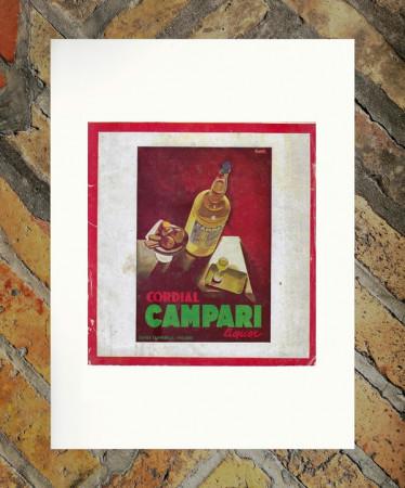 """1933 * Pubblicità Originale """"Campari Cordial –  NIZZOLI"""" in Passepartout"""