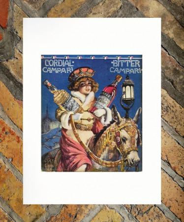 """1913 * Pubblicità Originale """"Campari Cordial Bitter - TALMAN SILVIO"""" in Passepartout"""