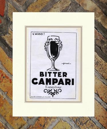 """1930 * Pubblicità Originale """"Campari Bitter L'Asso –  ORSI"""" in Passepartout"""