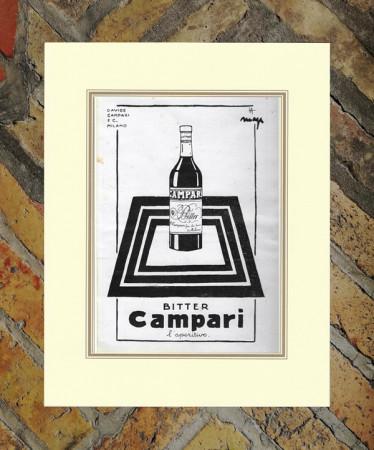 "1928 * Pubblicità Originale ""Campari Bitter –  MAGA"" in Passepartout"
