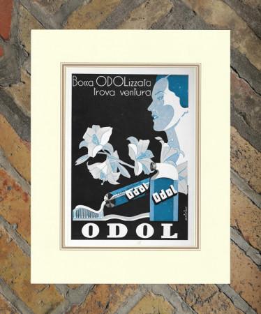 "1941 * Pubblicità Originale ""Dentifricio ODOL - BAKISFIGUS"" in Passepartout"