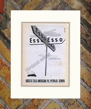 """1937 * Pubblicità Originale """"Esso - Rifornimenti Ovunque - BERNAZZOLI"""" in Passepartout"""