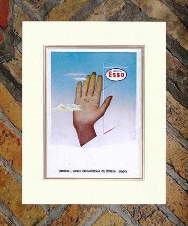 """1939 * Pubblicità Originale """"Esso - Servizio - BERNAZZOLI"""" Colori in Passepartout"""