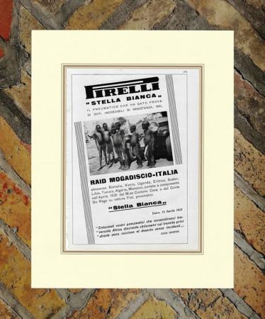 """1931 * Pubblicità Originale """"Pirelli – Stella Bianca - RAID MOGADISCIO"""" in Passepartout"""