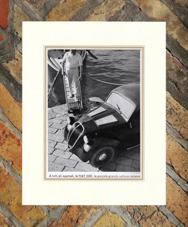 """1936 * Pubblicità Originale """"Fiat - 500 Approdi - FOTO BRICARELLI"""" in Passepartout"""