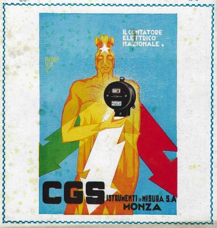 """1929 * Pubblicità Originale """"CGS - Il Contatore Elettrico Nazionale - FELW"""" in Passepartout"""