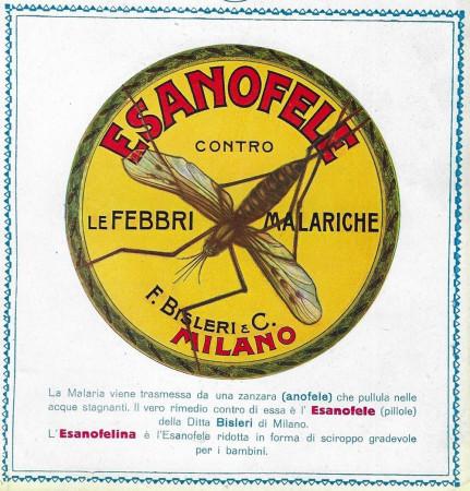 """1929-30 * Pubblicità Originale """"Esanofele Bisleri - Contro le Febbri Malariche"""" in Passepartout"""