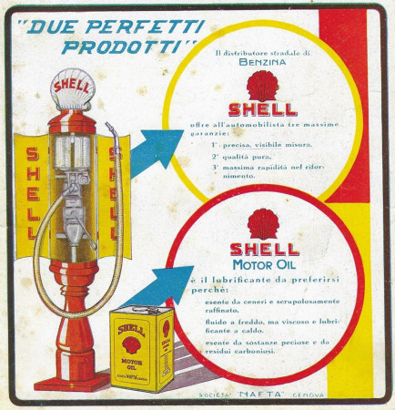 """1928 * Pubblicità Originale """"Shell - Benzina/Motor Oil"""" in Passepartout"""