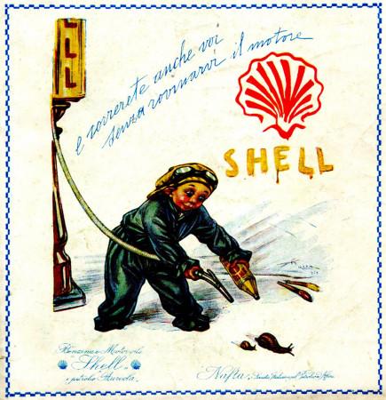 """1930 * Pubblicità Originale """"Shell - Correte Anche Voi - MAZZA"""" in Passepartout"""