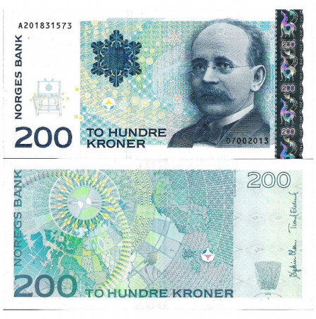 "2013 * Banconota Norvegia 200 Kroner ""Kristian Birkeland"" (p50f) qFDS"
