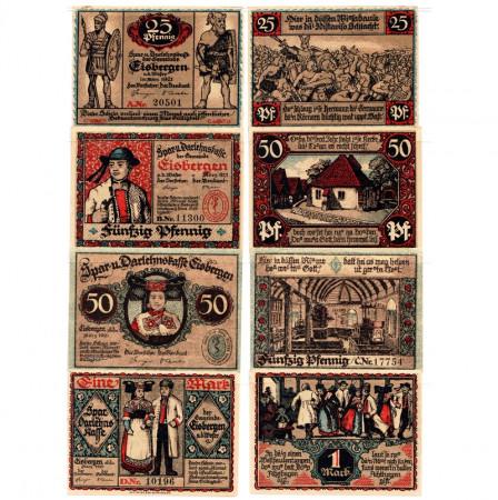 "1921 * Set 4 Notgeld Germania 25 . 50 Pfennig 1 Mark ""Renania Sett-Vestfalia – Eisbergen a.W."" (317)"