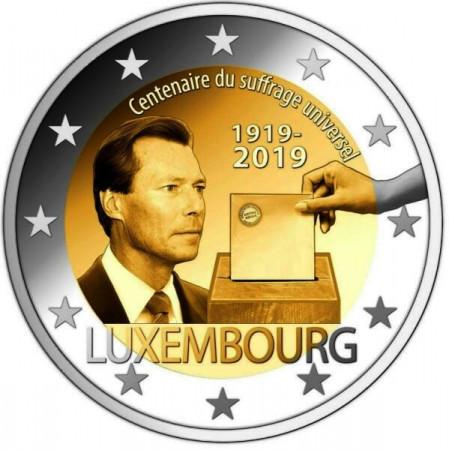 """2019 * 2 Euro LUSSEMBURGO """"100º Anniversario del Suffragio Universale"""" UNC - Versione da Sacchetto"""
