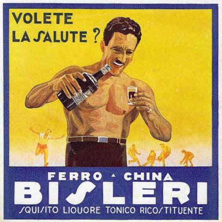 """1932 * Pubblicità Originale """"Ferro-China Bisleri (Blu) - Uomo Torso Nudo"""" in Passepartout"""