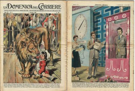 """1956 * La Domenica Del Corriere (N°1) """"L'Ultima Edizione di """"Lascia o Raddoppia"""" con Mike Bongiorno"""" Rivista Originale"""