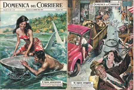 """1962 * La Domenica Del Corriere (N°34) """"Il Buon Pescecane - Un Ragazzo Coraggioso"""" Rivista Originale"""