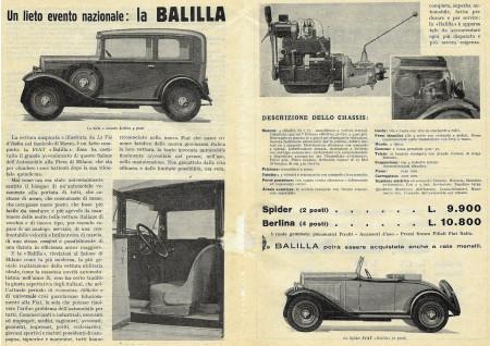 """1932 * Pubblicità Originale Automobilia """"Fiat Balilla"""" Bianco/Nero"""