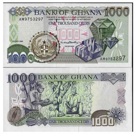 "1999 * Banconota Ghana 1000 Cedis ""Diamonds"" (p32d) FDS"