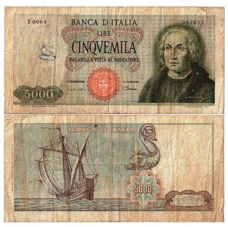 """1968 (04/01) * Banconota Italia Repubblica 5000 Lire """"C Colombo - Tipo 1"""" BI.797 (p98b) MB+"""