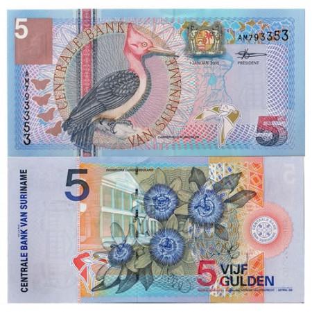 "2000 * Banconota Suriname 5 Gulden ""Woodpecker"" (p146) FDS"