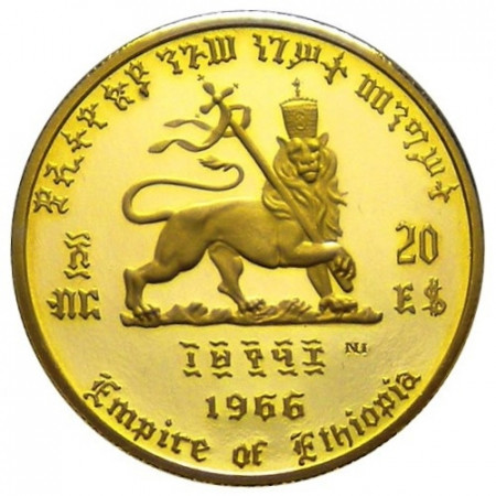 1966 * 20 Dollari d'oro Etiopia 75° Nascita e 50° Giubileo Haile Selassie