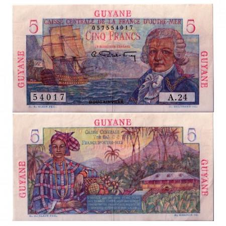 1947-1949 * Banconota Guyana francese 5 franchi BB
