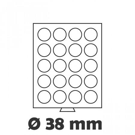 Box MB per monete 20 caselle 38mm Ø colore fumè * LEUCHTTURM