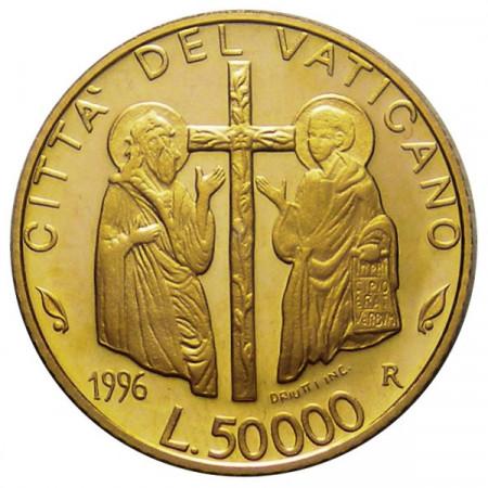 """1996 * 50000 lire oro Vaticano Giovanni Paolo II """"Basilica San Giovanni"""""""