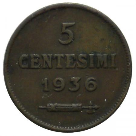 "1936 R * 5 Centesimi rame San Marino ""Valore"" Tipo 2 BB"
