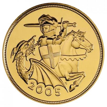 """2005 * 1 Sterlina Oro Gran Bretagna """"Elisabetta II - San Giorgio"""" FDC"""