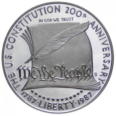 "1987 S * 1 Dollar Argento Stati Uniti ""200th Anniversary of the Constitution"" (KM 220) PROOF"