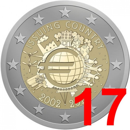 2012 * 17 monete 2 euro 10° Anniversario euro