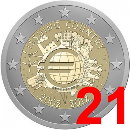 2012 * 21 monete 2 euro 10° Anniversario euro
