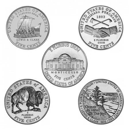"""2004-06 * Lotto 5 x 5 Cents (Nichelini di Dollaro) Stati Uniti """"Jefferson Nickel"""" UNC"""