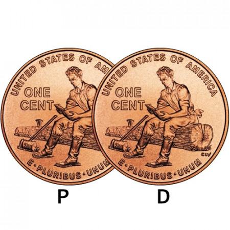"2009 * 2 x 1 Cent (Lincoln Cent) Stati Uniti ""Formative Years"" (KM 442) P+D"