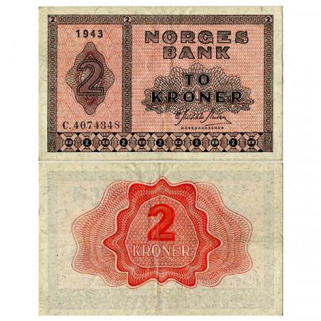 1943 * Banconota Norvegia 2 Kroner (p16a1) BB+