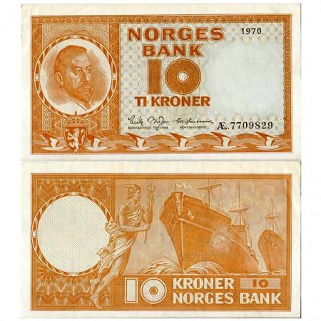"""1970 * Banconota Norvegia 10 Kroner """"Christian Michelsen"""" (p31e) SPL"""