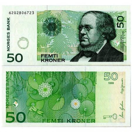 """1999 * Banconota Norvegia 50 Kroner """"PC Asbjornsen"""" (p46b) FDS"""