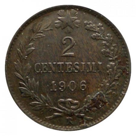 """1906 R * 2 Centesimi Rame Italia Vittorio Emanuele III """"Valore"""" BB+/qSPL"""